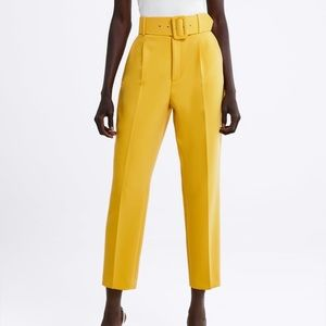 NWT Zara Darted Trousers with Belt in Yellow